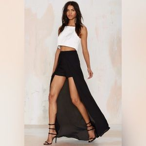 NWT Nasty Gal Black Maxi Overlay High Waist Shorts
